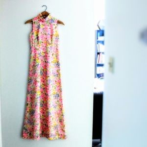 60s floral prom dress